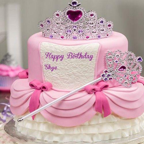Write Kids Name Princess Birthday Cakes Wishes Images Free Latest
