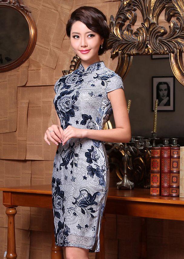 Grey floral velvet short modern qipao Chinese cheongsam dress