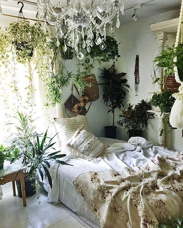 Neutral Hues And Plants Bohemian Bedroom Decor Bedroom