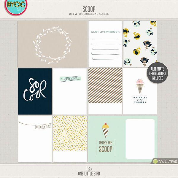 Scoop | Printable Journaling Cards | One Little Bird