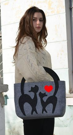 Felt bag, ladies handbag, casual bag, grey felt handbag,dog,Tote Bag ,Felt…