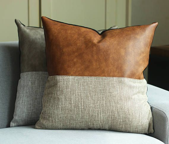 Designer Faux Leather Pillow Cover Kdays Halftan Pillow Cover Decorative For Couch Throw Pillow Case Handmade Cushion Covers Brown Cushion Couch Throw Pillows