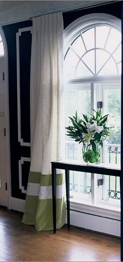 Great effect and impact with the bottom stripe and contrast deep hem band- want these types of curtains for the living room! like the green and white, greenish color will go good with the color on the walls I want