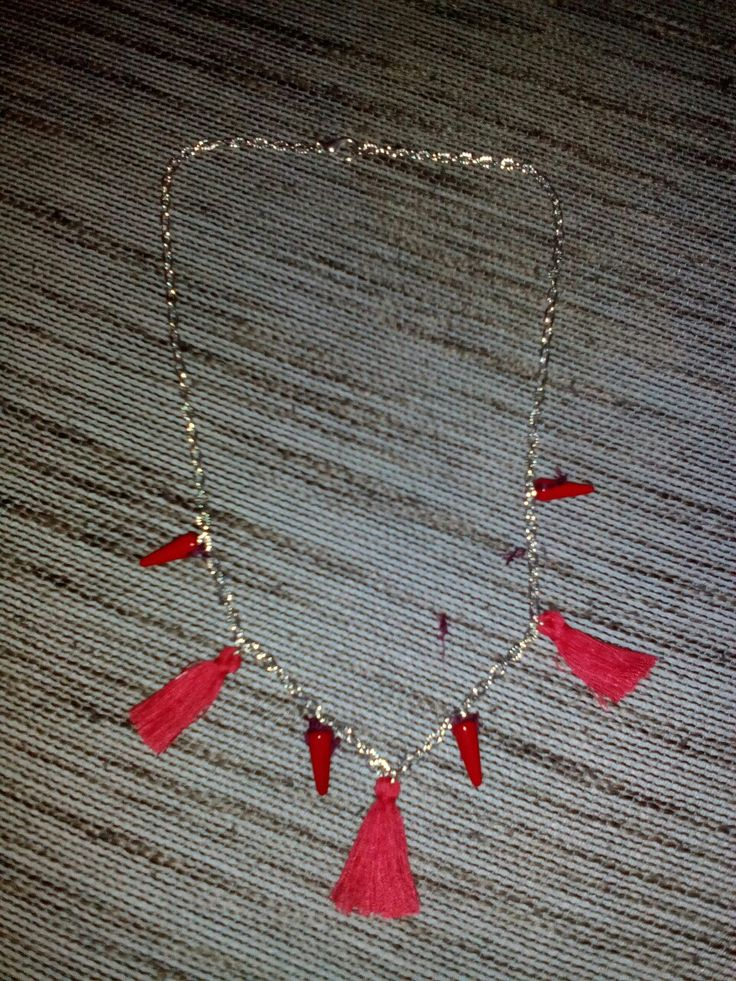 Red bohemian necklace