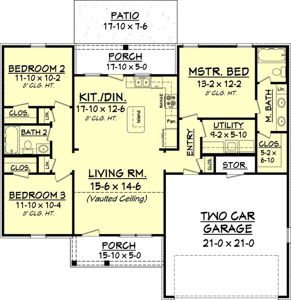 Laundry european style house plan 3 beds 2 baths for Small baths 1300