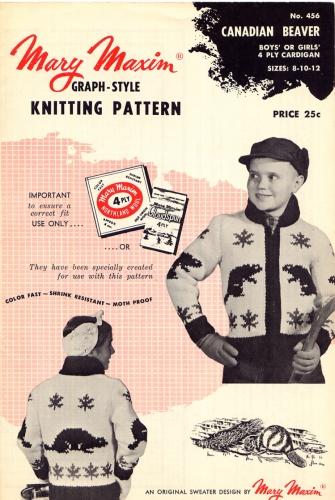 Mary Maxim knitting patterns ~ Canadian Beaver
