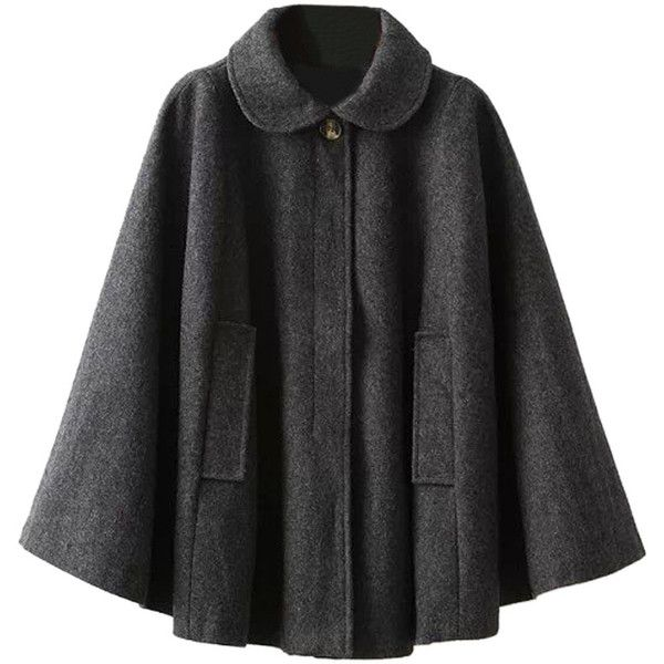Choies Gray Lapel Poncho Cape Woolen Coat and other apparel, accessories and trends. Browse and shop 8 related looks.