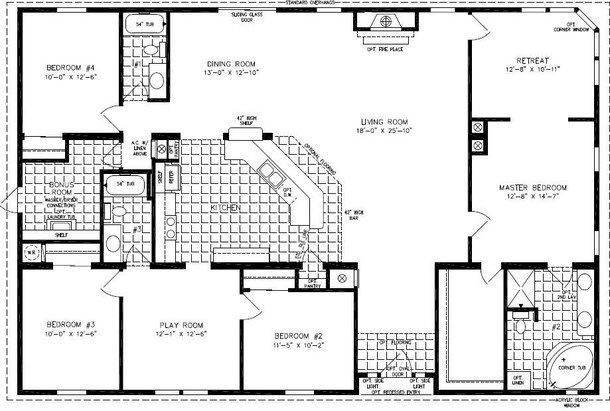 4 bedroom modular homes floor plans bedroom mobile home for Double wide floor plans with basement
