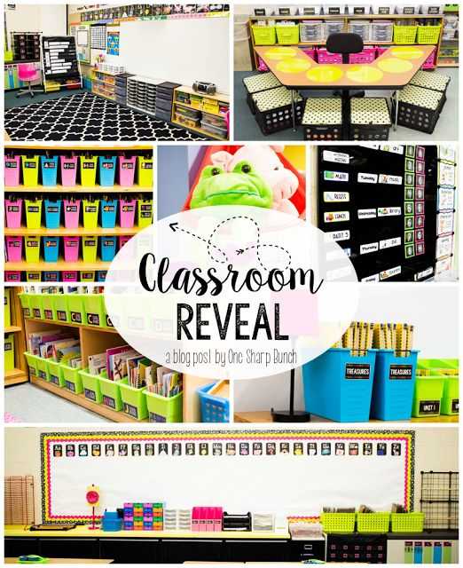 Check out this classroom reveal with the brightly colored classroom décor and the amazing classroom organization everything has a place