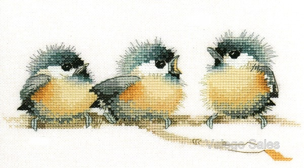 Heritage Valerie Pfeiffer Cross Stitch Chart Pattern ~ SITTING PRETTY one out of the three done..