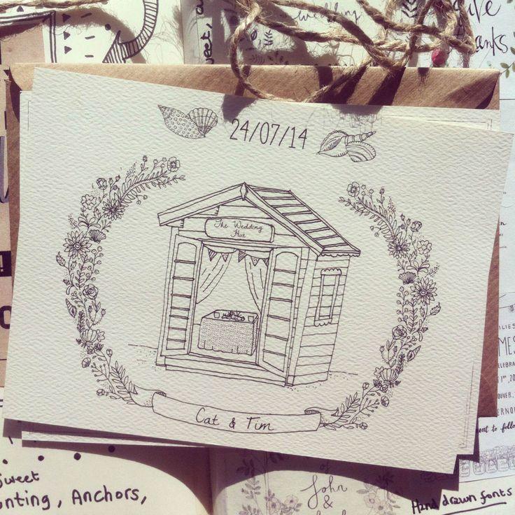 Hand-drawn, custom, illustrated Wedding Invitations/Save the Dates by BernysPlace on Etsy https://www.etsy.com/au/listing/185440208/hand-drawn-custom-illustrated-wedding