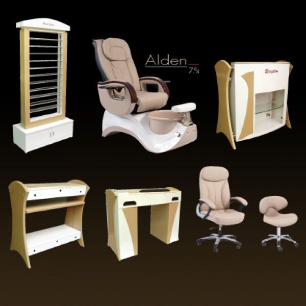 Khaki Wood Furniture Set Whale Spa Manufacturer Of Pedicure Chairs Spas