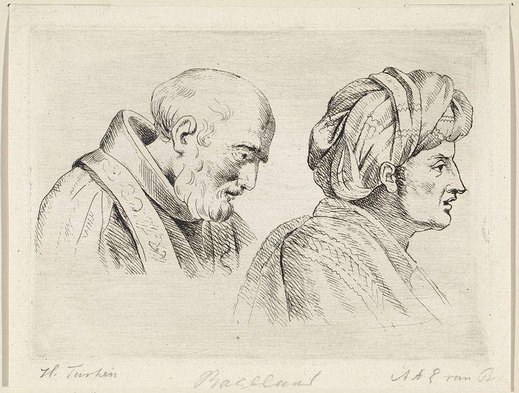 Henricus Turken | Geestelijke en een man met tulband, Henricus Turken, 1801 - 1856 | Links een man met een baard, gekleed in een toga met stola. Rechts een man met een tulband op het hoofd.