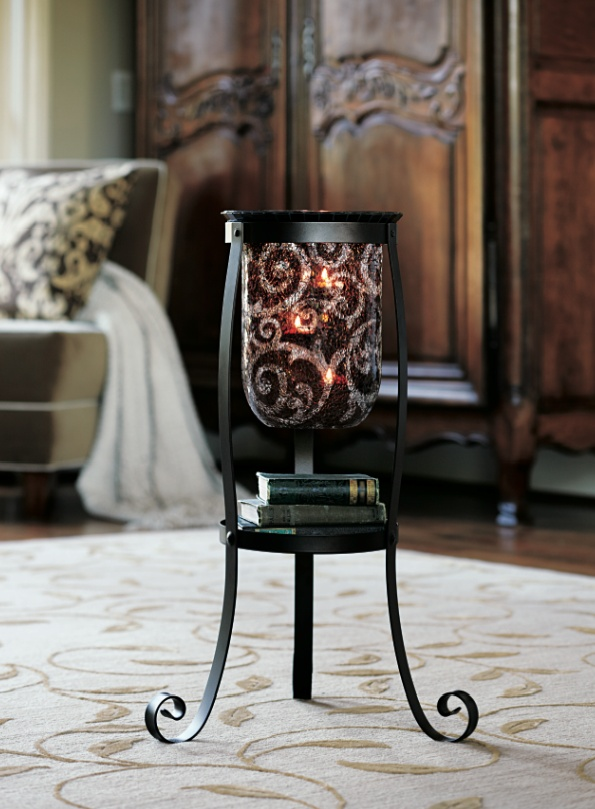 #PartyLite Rustic Scroll Floor Stand and #Amaretto Swirl Large #Hurricane    http://www.partylite.biz/sites/debbiehamilton/productcatalog?page=productdetail=true=P90979