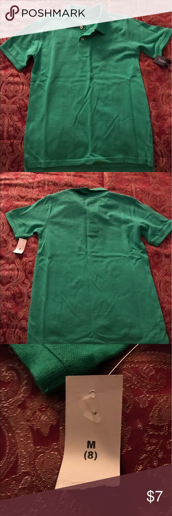 Boy's Faded Glory Green Polo Shirt Size Medium 8 Boy's Faded Glory Polo Shirt Size Medium 8.....made in Pakistan......100% cotton......Green....brand new with tags! Faded Glory Shirts & Tops Polos