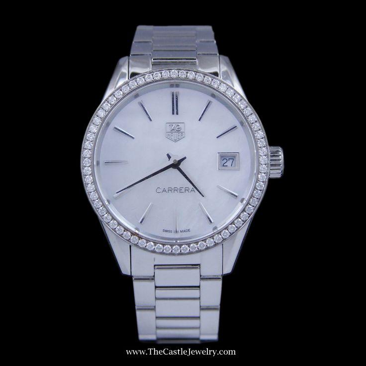Ladies Tag Carrera Watch 32mm White Pearl Face & Diamond Bezel