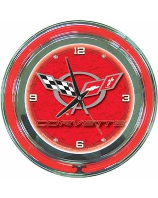 Trademark Global Clocks 14 in. Red Corvette C5 Neon Wall Clock Multi GM1400R-C5-COR