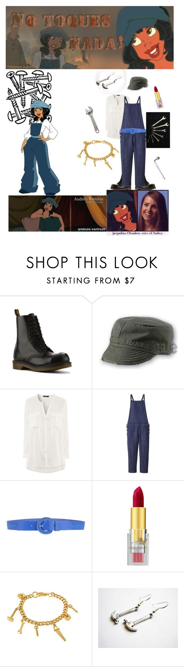 """""""Audrey, Chief Mechanic of the Ulysses"""" by dragonrescuer ❤ liked on Polyvore featuring Dr. Martens, Atlantis Caps, Atlantis, ...Lost, H&M, Uniqlo, BGN, Napoleon Perdis, Mercedes-Benz and Erica Anenberg"""