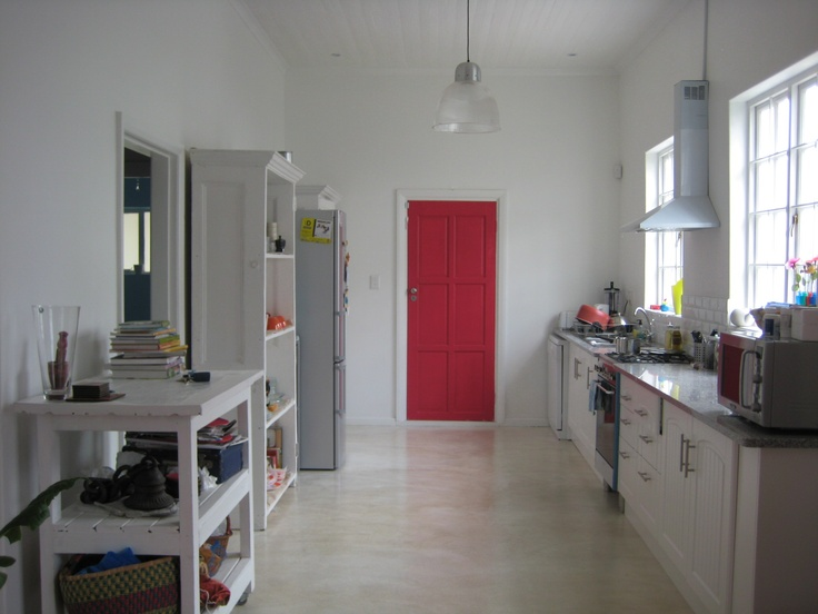 cement floor red door