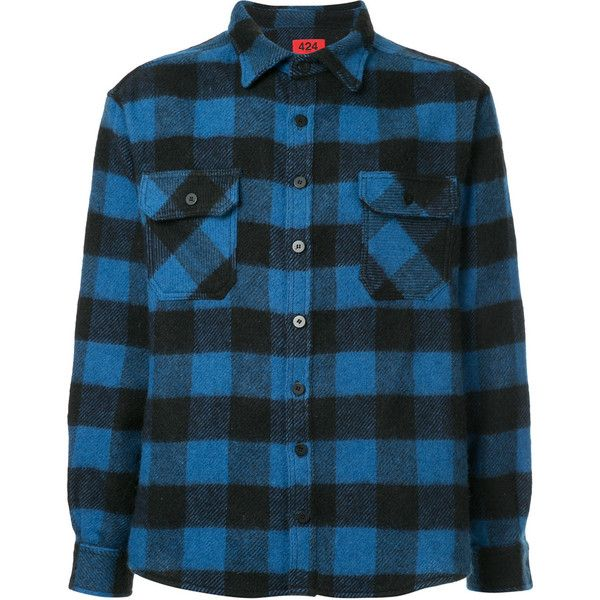 424 Fairfax checked flannel shirt ($604) ❤ liked on Polyvore featuring men's fashion, men's clothing, men's shirts, men's casual shirts, blue, mens blue flannel shirt, mens blue checked shirt, mens flannel shirts and mens blue checkered shirt