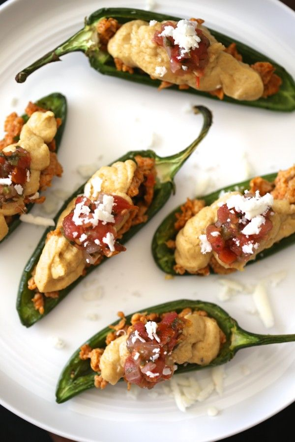 Mexican Spiced Hummus Stuffed Jalapenos with Chorizo and Cotija Cheese #recipe #appetizer