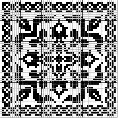 Square 01 | Free chart for cross-stitch, filet crochet | gancedo.eu