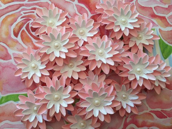Set of 6 Baby Pink Paper Flowers by simplypearlee on Etsy, $3.05