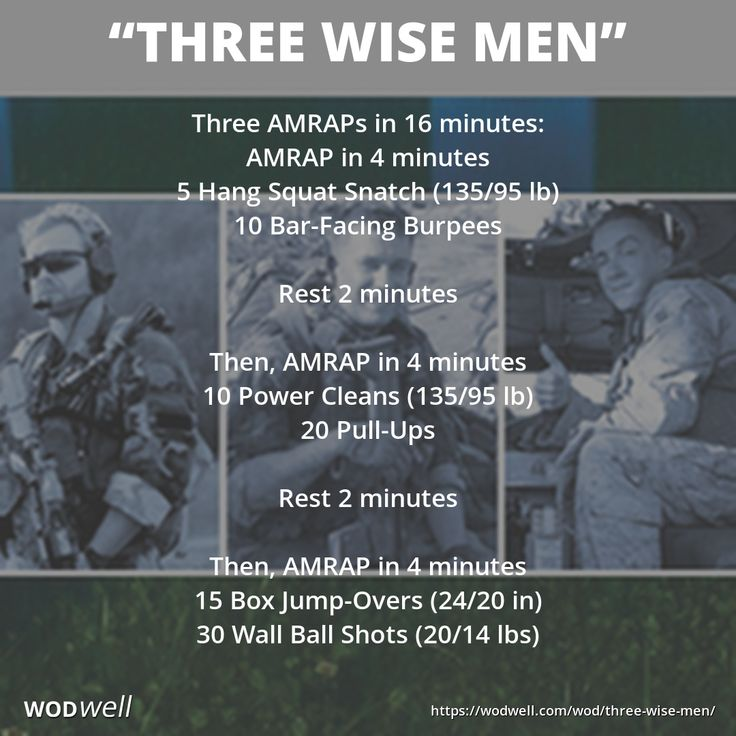 """""""Three Wise Men"""" WOD - Three AMRAPs in 16 minutes: AMRAP in 4 minutes; 5 Hang Squat Snatch (135/95 lb); 10 Bar-Facing Burpees; Rest 2 minutes; Then, AMRAP in 4 minutes; 10 Power Cleans (135/95 lb); 20 Pull-Ups; Rest 2 minutes; Then, AMRAP in 4 minutes; 15 Box Jump-Overs (24/20 in); 30 Wall Ball Shots (20/14 lbs)"""
