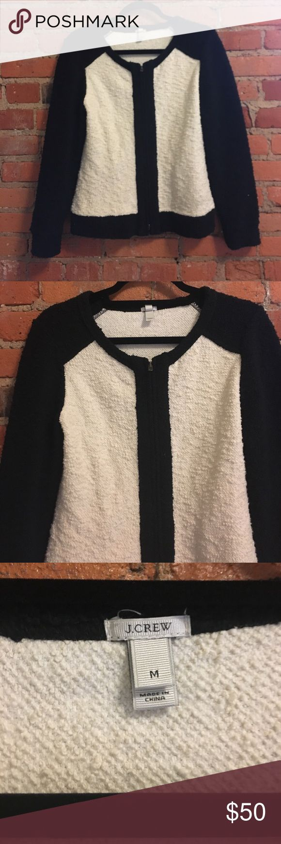 J.Crew black and cream zip up cardigan jacket M Excellent condition, maybe worn twice. Size medium. J. Crew Sweaters Cardigans