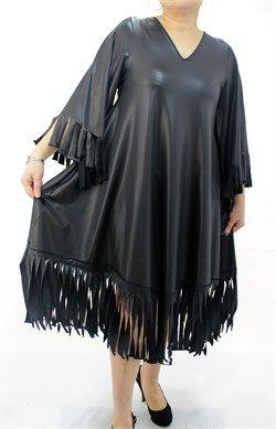 Modagld Bayan Büyük Beden Etek Ucu ve Kol Püskül Detaylı Mikro Deri Siyah Elbise