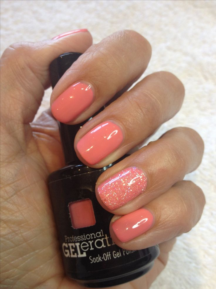 Pink summery Jessica GELeration Gel nails with an accent of glitter by www.TLCBeautyTherapy.com