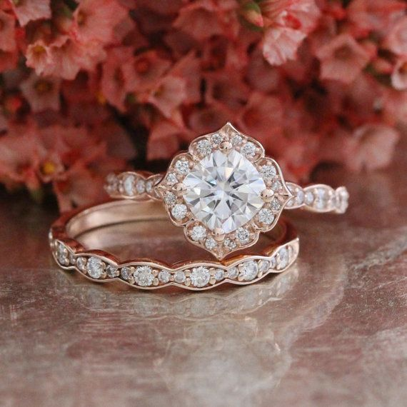 Forever One Moissanite Engagement Ring and Scalloped Diamond Wedding Band Bridal Set 14k Rose Gold 6x6mm Cushion Mini Vintage Floral Ring