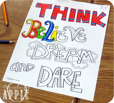 Colorful Quotes from Doodle Art Alley - great project for students!