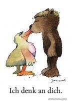Ich denk an dich. #Kuss, #Liebe, #Postkarte, #Janosch