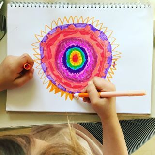 Mandala drawings by my 7yo while I cook and we both listen to the Harry Potter audio book...