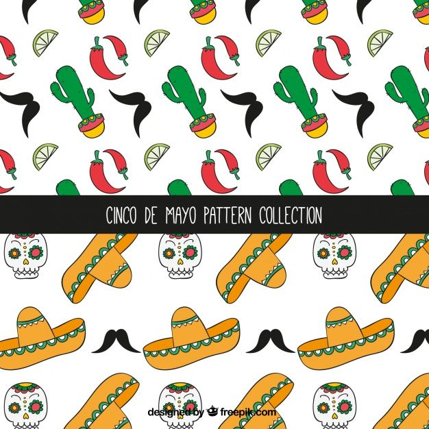Decorative patterns with hand-drawn mexican elements Free Vector