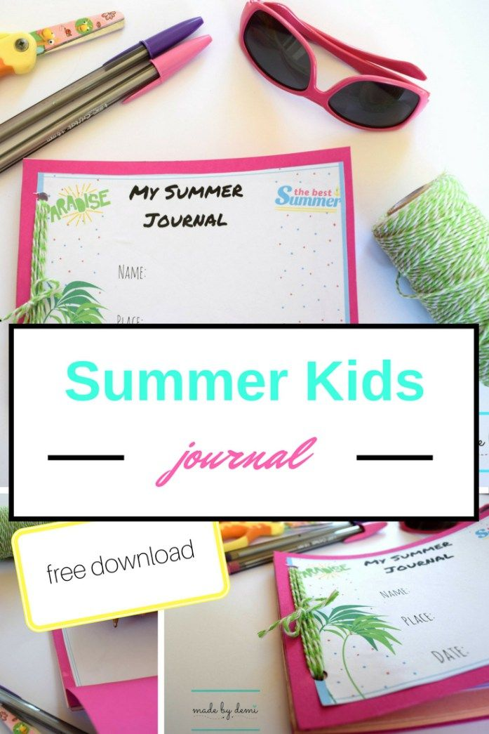 SUMMER KIDS JOURNAL | free download | pdf printable | made by demi