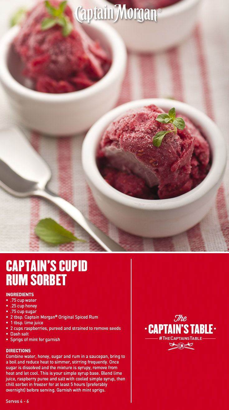 Cupid's Rum Raspberry Sorbet: A Valentine's Day dessert that leaves everyone love-struck. #Captain #Morgan #rum #recipe #captainstable #dessert