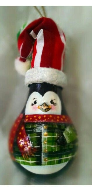Hand painted penguin Christmas ornament on recycled light bulb. | Carol's  what's old is new again. | Pinterest | Light bulb, Bulbs and Christmas or… - Penguin.