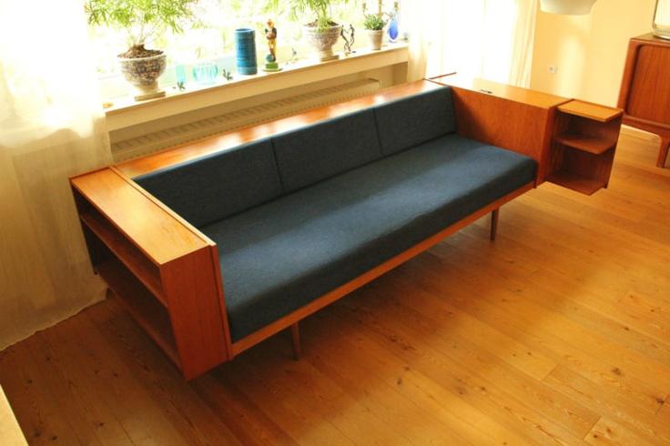 60er 70er Teak Danish Modern Design Sofa Daybed Schlafsofa mit Ablagen Sixties   eBay