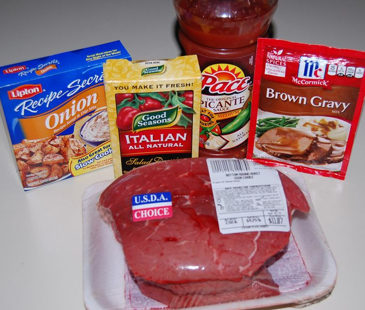 Ingredients :    3 pound beef roast such as chuck roast  1 envelope of dry Italian salad dressing mix  1 envelope of dry ranch salad dressing mix  1 envelope of dry brown gravy mix  2 cups water    How to make it :        Put