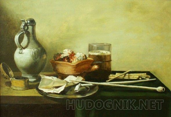 Жаровня и трубки Копия голландского натюрморта кисти Питера Класа.