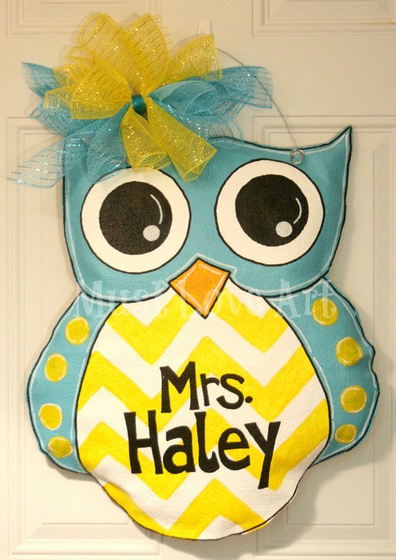 Owl Burlap Door Hanger Decoration Chevron Polka Dot Teen Girls Room Teacher Classroom