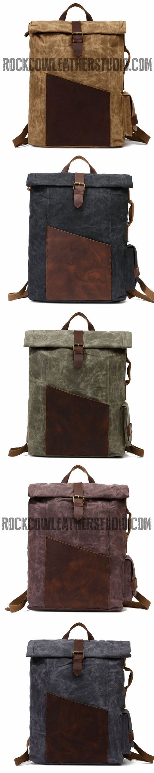 Waxed Canvas Wtih Leather Trim Backpack, School Book Bag, Hiking Bag FX902