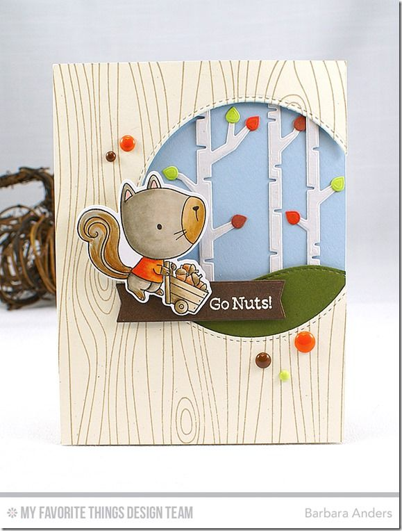 Harvest Buddies Stamp Set and Die-namics, Whimsical Woodgrain Background, Stitched Snow Drifts Die-namics, Birch Trees Die-namics, Tag Builder Blueprints 5 Die-namics, Inside & Out Stitched Circle STAX Die-namics - Barbara Anders  #mftstamps