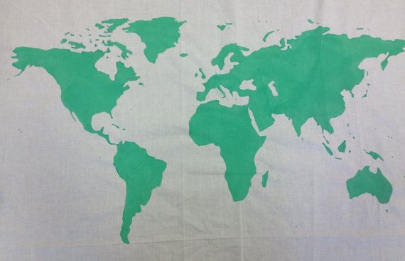 SALE..    World Map Wall Tapestry in Mint by BumsteerStudios