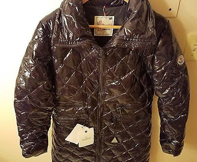 New! Moncler Long Water Resistant Black Nylon Quilted Jacket Size 2 Womens $1095