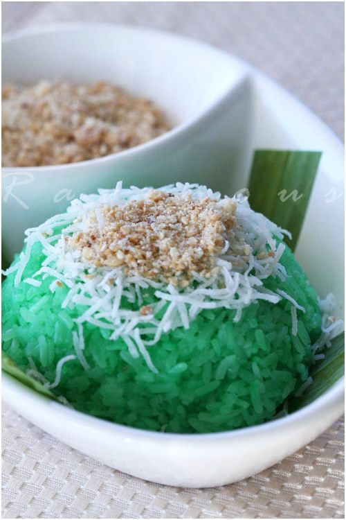 sweet sticky rice with pandan xoi la dua