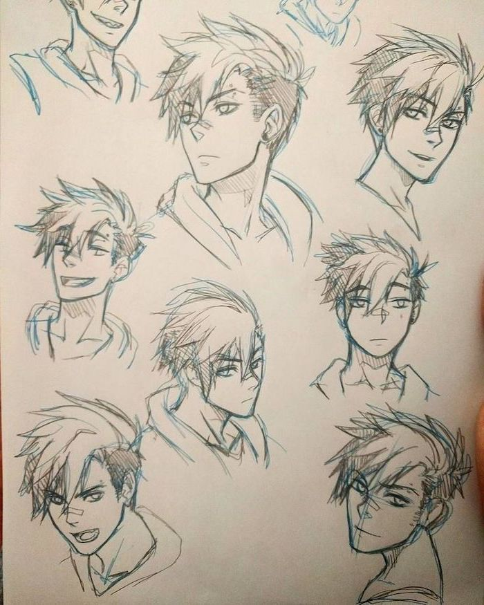 Pencil Sketches Different Facial Expressions How To Draw Anime Body Blue And In 2020 Drawing Anime Bodies Anime Drawings Guy Drawing