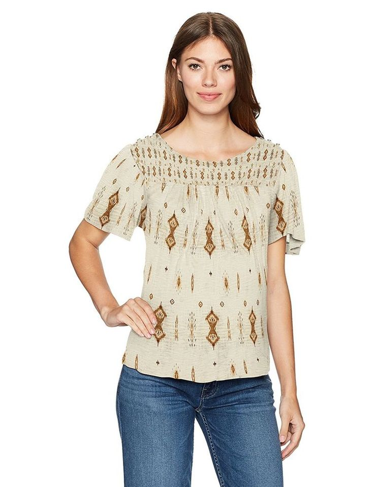 Lucky Brand Women's Viscose Printed Flutter Sleeve Shirred Knit Top Natural S #LuckyBrand #Blouse #Casual